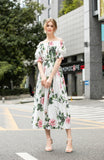 White & Multicolor floral print Dress - Dresses