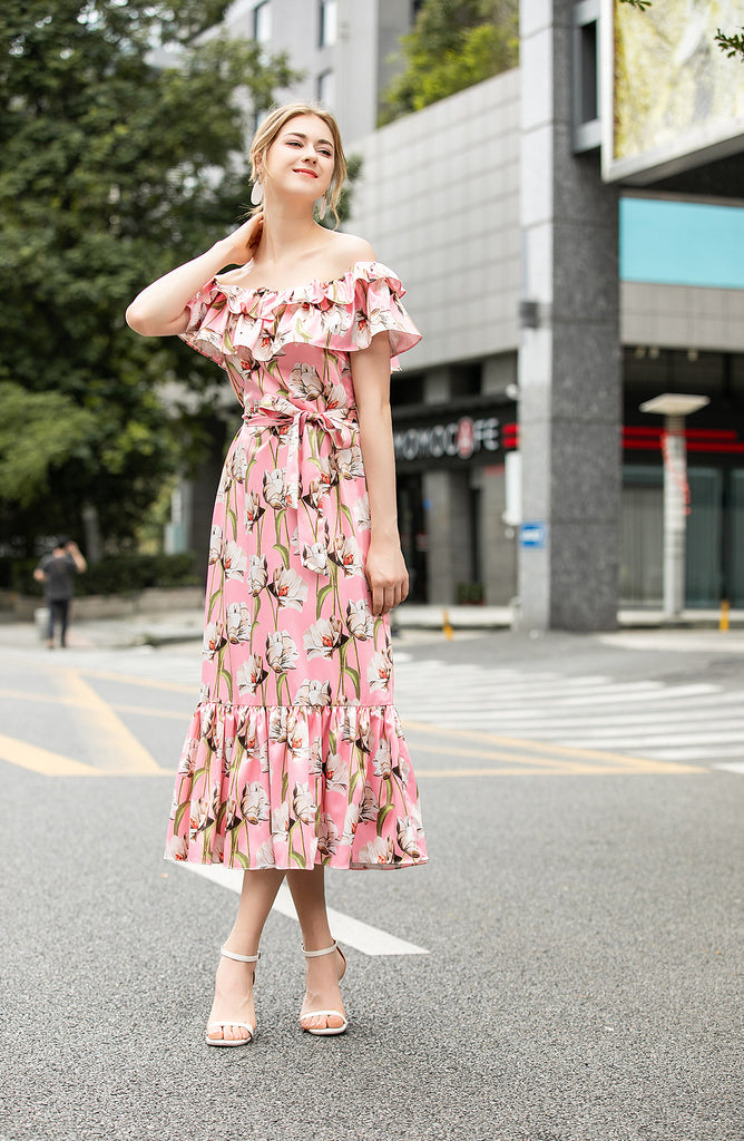 Pink & Multicolor floral print Dress - Dresses