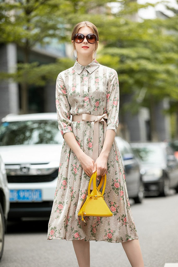 Light gray-brown & Multicolor floral print Office Dress - Dresses