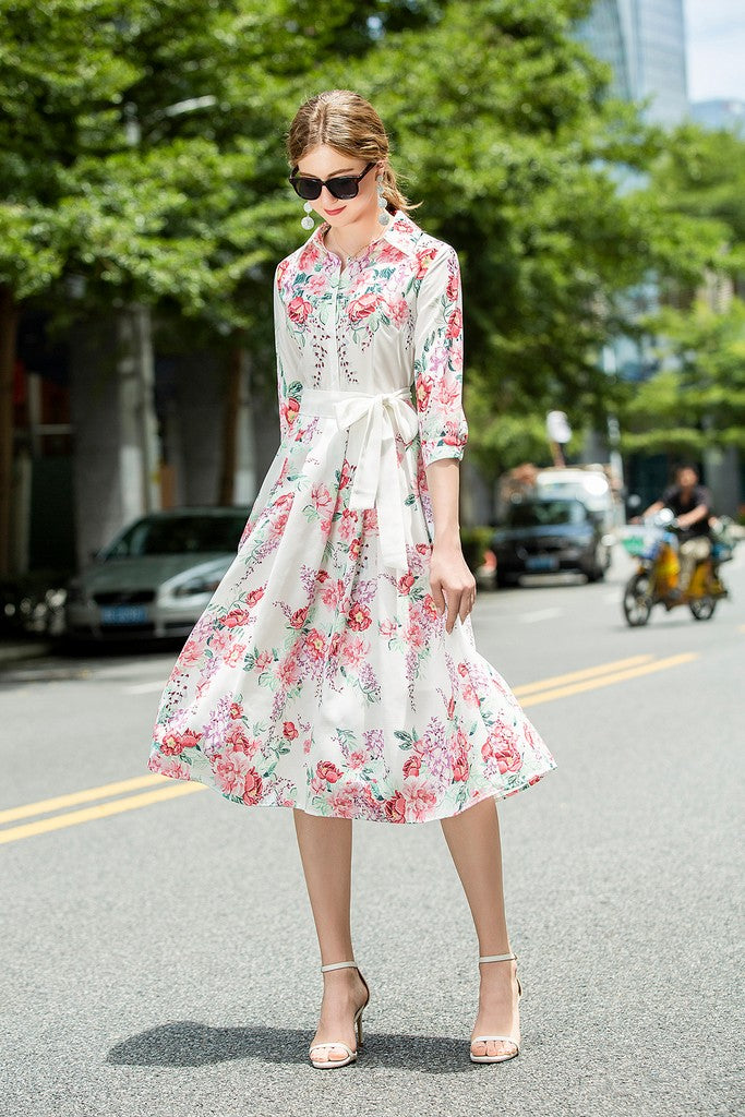 White & Red flowers Day Dress - Dresses
