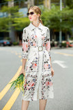 White & Floral print Day Dress - Dresses