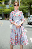 Light blue & Red flowers Day Dress - Dresses