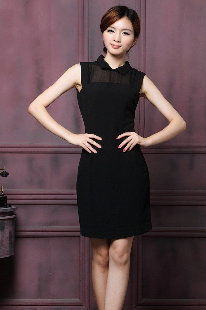 Black Office Fitted Ilussion Shirt Colar Sleeveless Above Knee Dress - Dresses