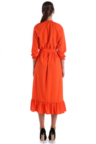 Orange Day Dress with Belt