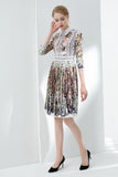 White & Multicolor Printed Day Dress - Dresses