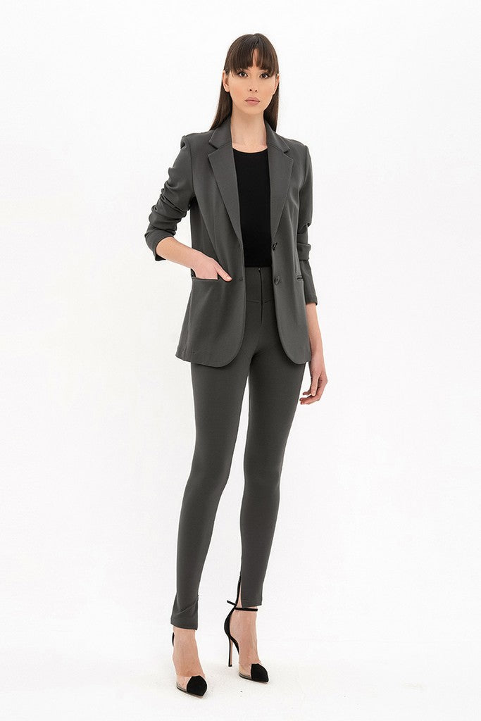 Graphite Office or Day Long Sleeve Blazer with Pockets - Jackets