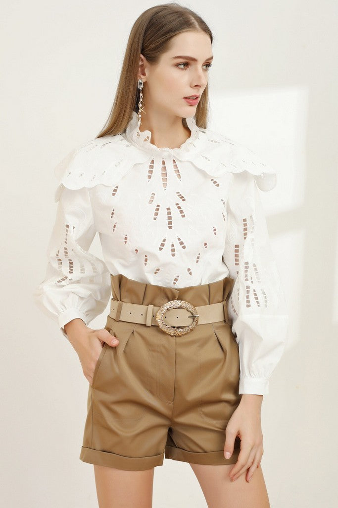 White & Light brown Party Set (Blouse & Shorts) - Suits