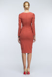 Terracotta Midi Day Fitted V-neck Long Sleeve Dress - Dresses