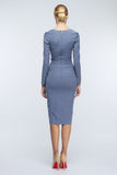 Blue Midi Day Fitted V-neck Long Sleeve Dress - Dresses