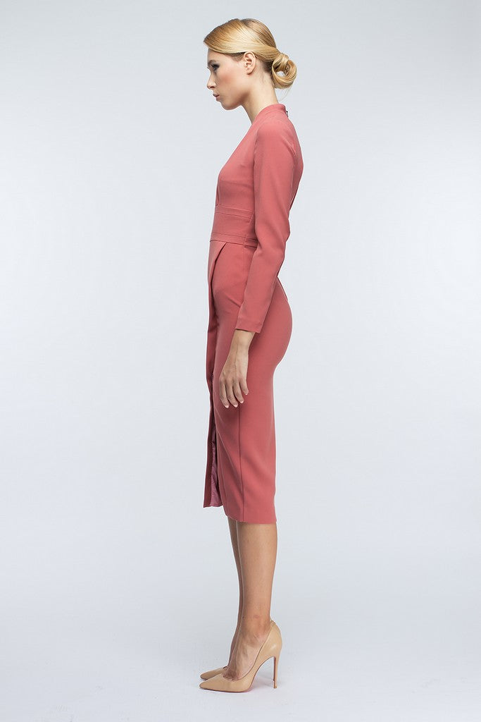 Tea Rose Midi Day Wrapped Long Sleeve V-neck Midi Dress - Dresses
