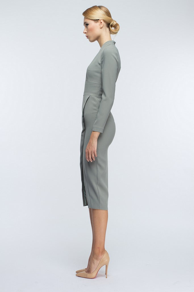 Gray-Green Midi Day Wrapped Long Sleeve V-neck Midi Dress - Dresses