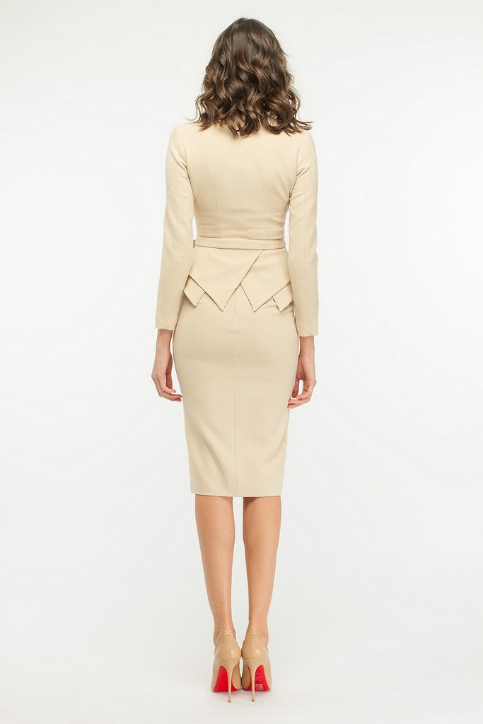 Beige Office Suit (Jacket & Skirt) with Belt - Suits