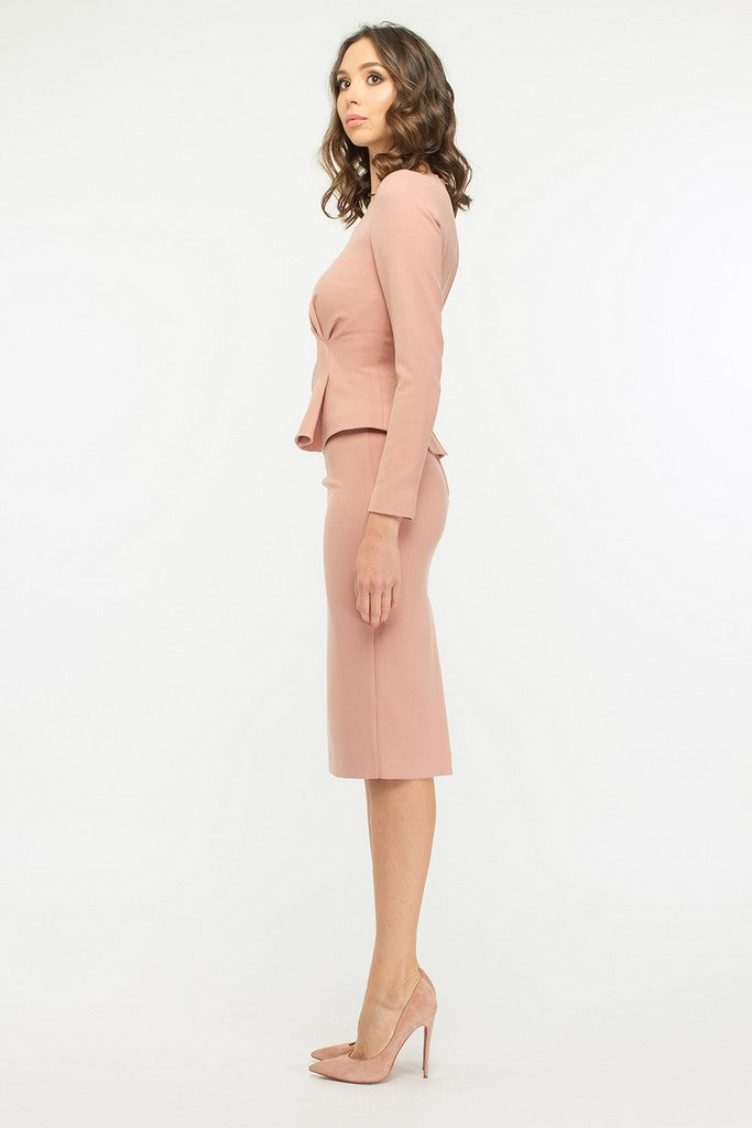 Pink Office Set (Long Sleeve Jacket and Pencil Below Knee Skirt)