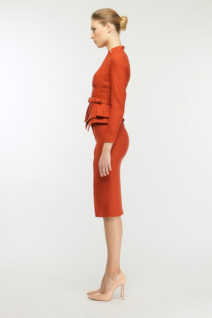 Terracotta Office Set (Ruffled Jacket and Pencil Skirt) - Suits