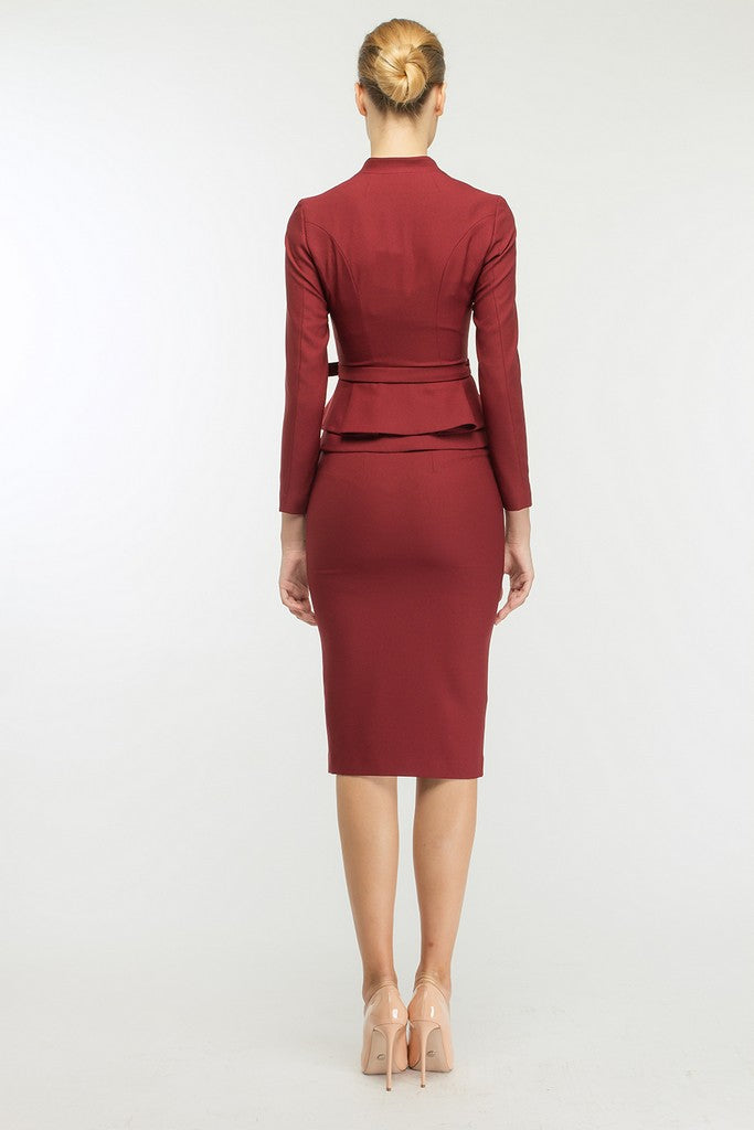 Burgundy Office Set (Ruffled Jacket and Pencil Skirt) - Suits