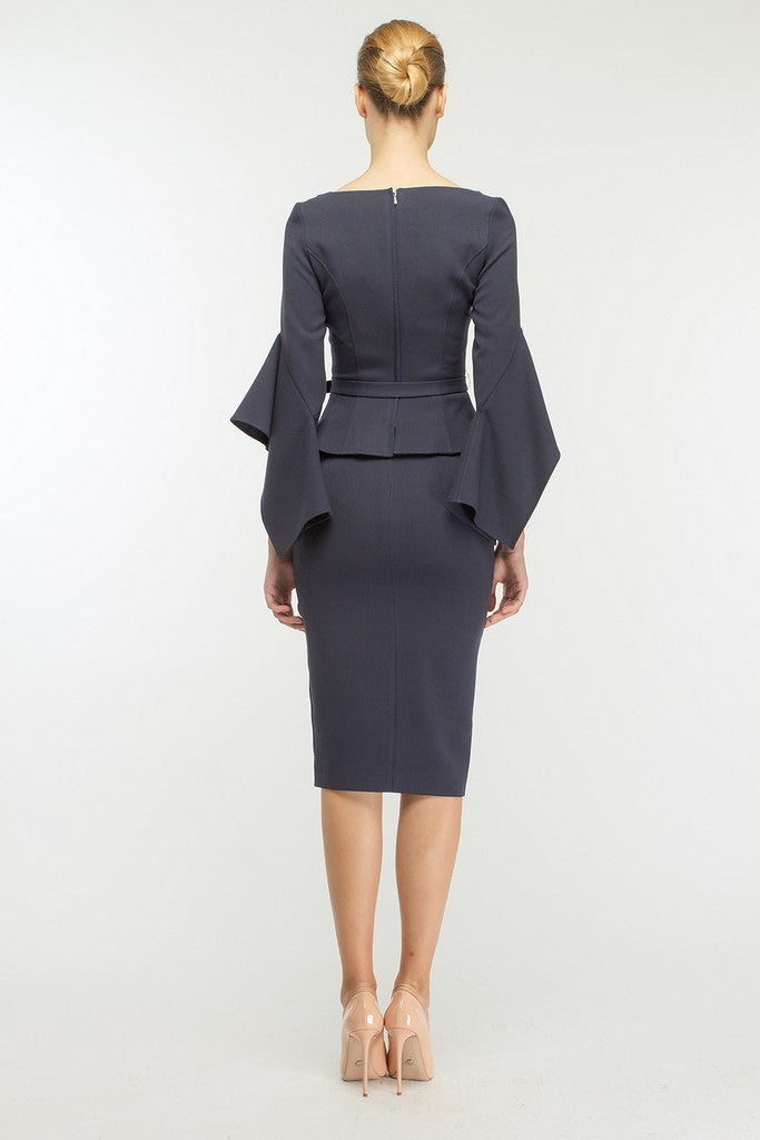 Blue Office Set (Poet Sleeve Ruffled Jacket and Pencil Skirt) - Suits