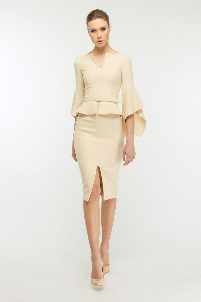Milky Office Set (Poet Sleeve Ruffled Jacket and Pencil Skirt) - Suits
