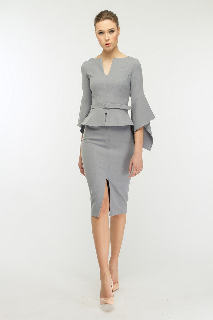 Light Gray Office Set (Poet Sleeve Ruffled Jacket and Pencil Skirt) - Suits