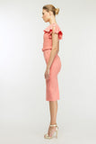 Pink Сocktail & Party Bodycon Boatneck Short Sleeve Ruffled Knee Dress - Dresses