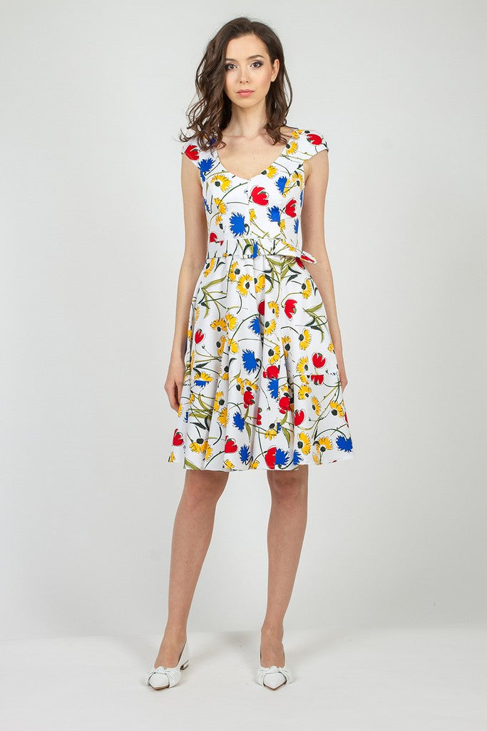 White & Yellow Day Summer Day Dress - Dresses