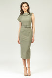 Olive Summer Office Dress - Dresses