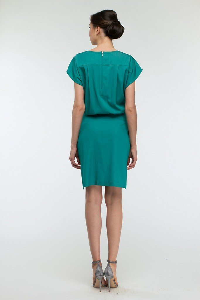 Green A-line Turquoise Above Knee Women`s Day Dress - Dresses