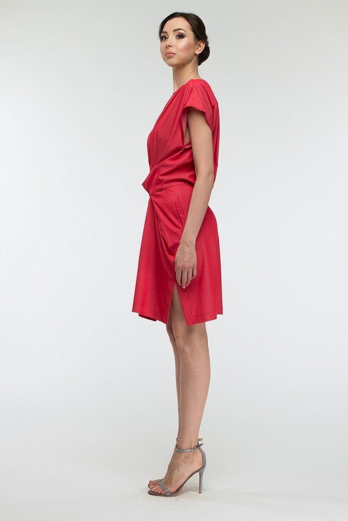 Coral A-line Coral Above Knee Women`s Day Dress - Dresses