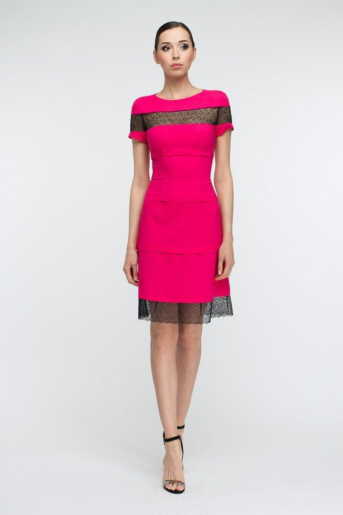 Evening A-line Skirt Crewneck Short Sleeve Above Knee Dress - Dresses
