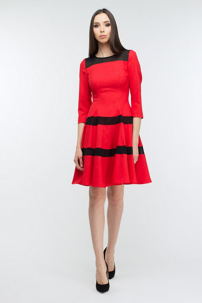 Red Striped Day Dress - Dresses