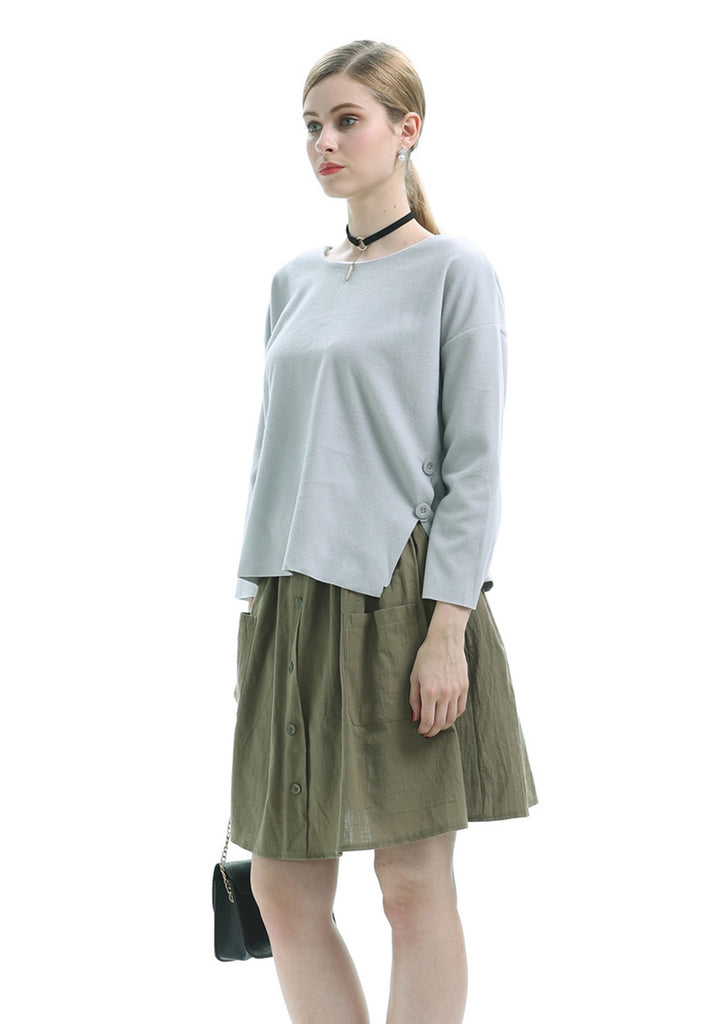 Day A-line Green Buttoned Mini Skirt with Pockets - Skirts