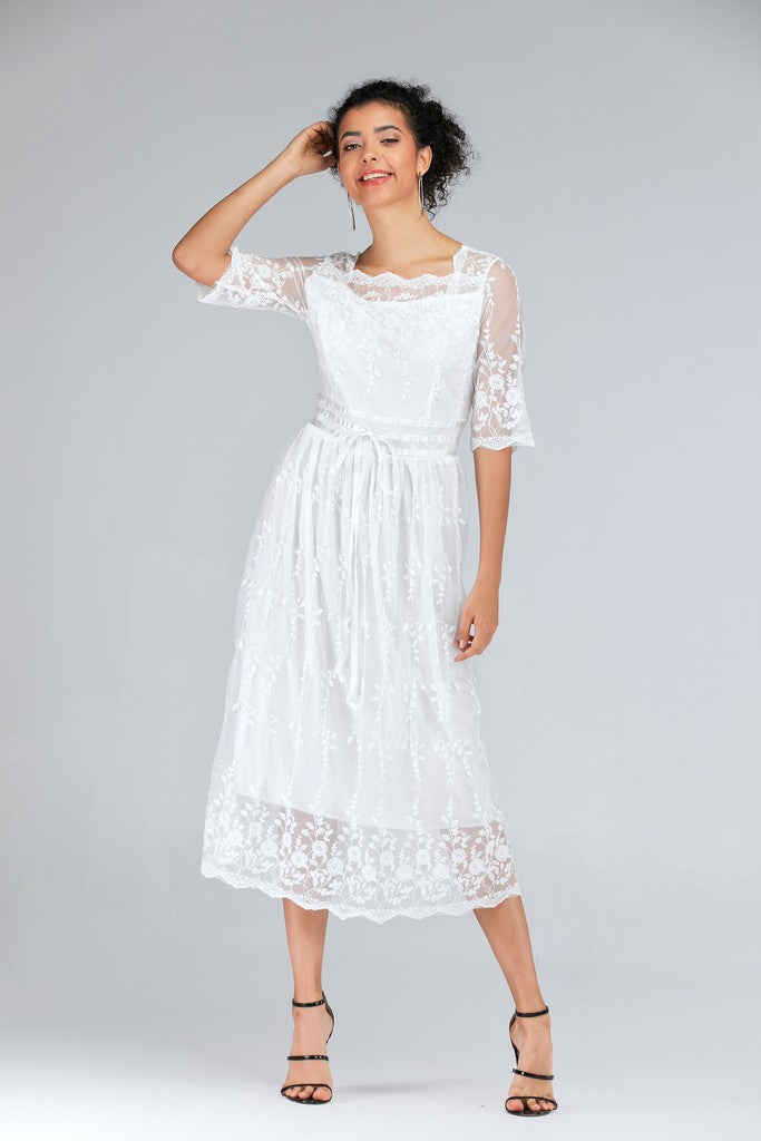 Evening H-line Square Neck White Ankle Laced Bow Dress - Dresses