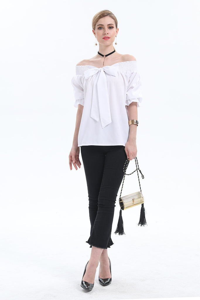 Day Off-Shoulders White Bow Shirt - Shirts