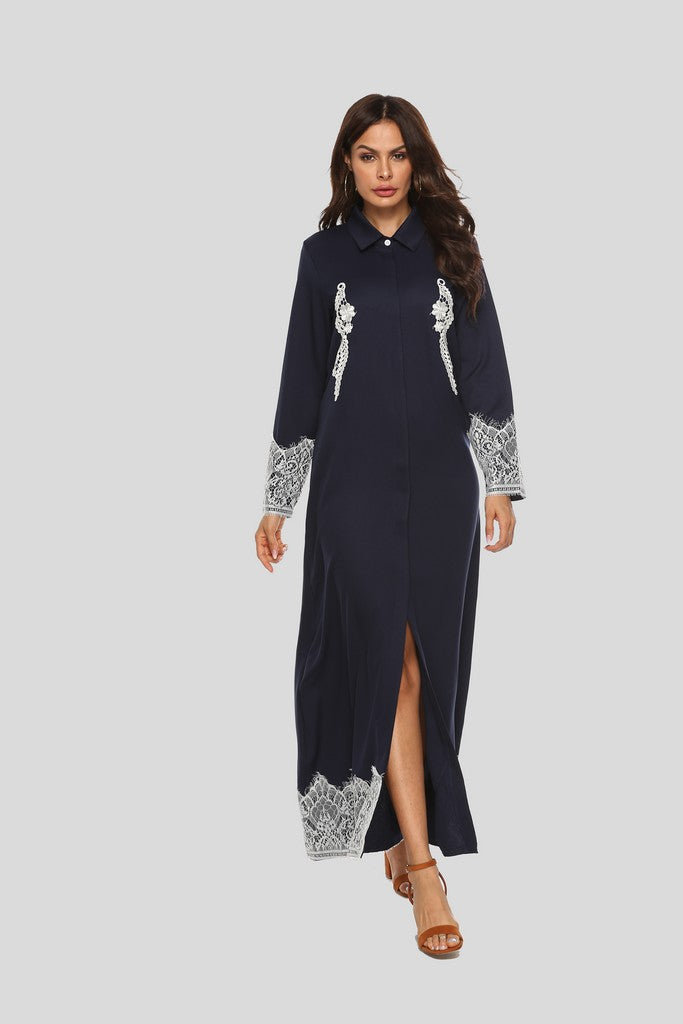 Evening H-line Shirt Collar Ankle Laced Dress - Dresses
