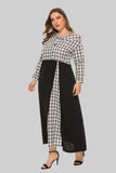 Day H-line Shirt Asymmetric Collar Black & White Cell Printed Tea Cotton Dress - Dresses