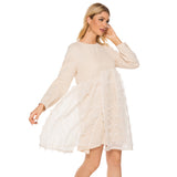Day Tent Crewneck High Waist Above Knee Dress - Dresses