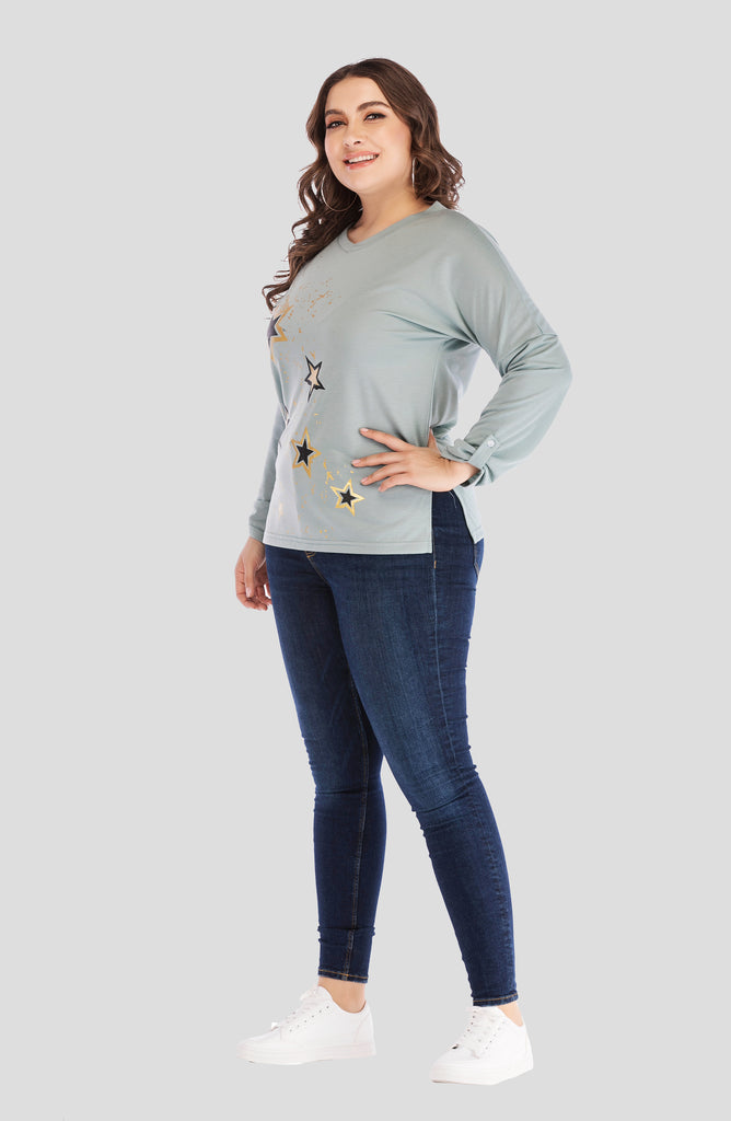 Casual Crewneck Light Blue Star Pattern Blouse