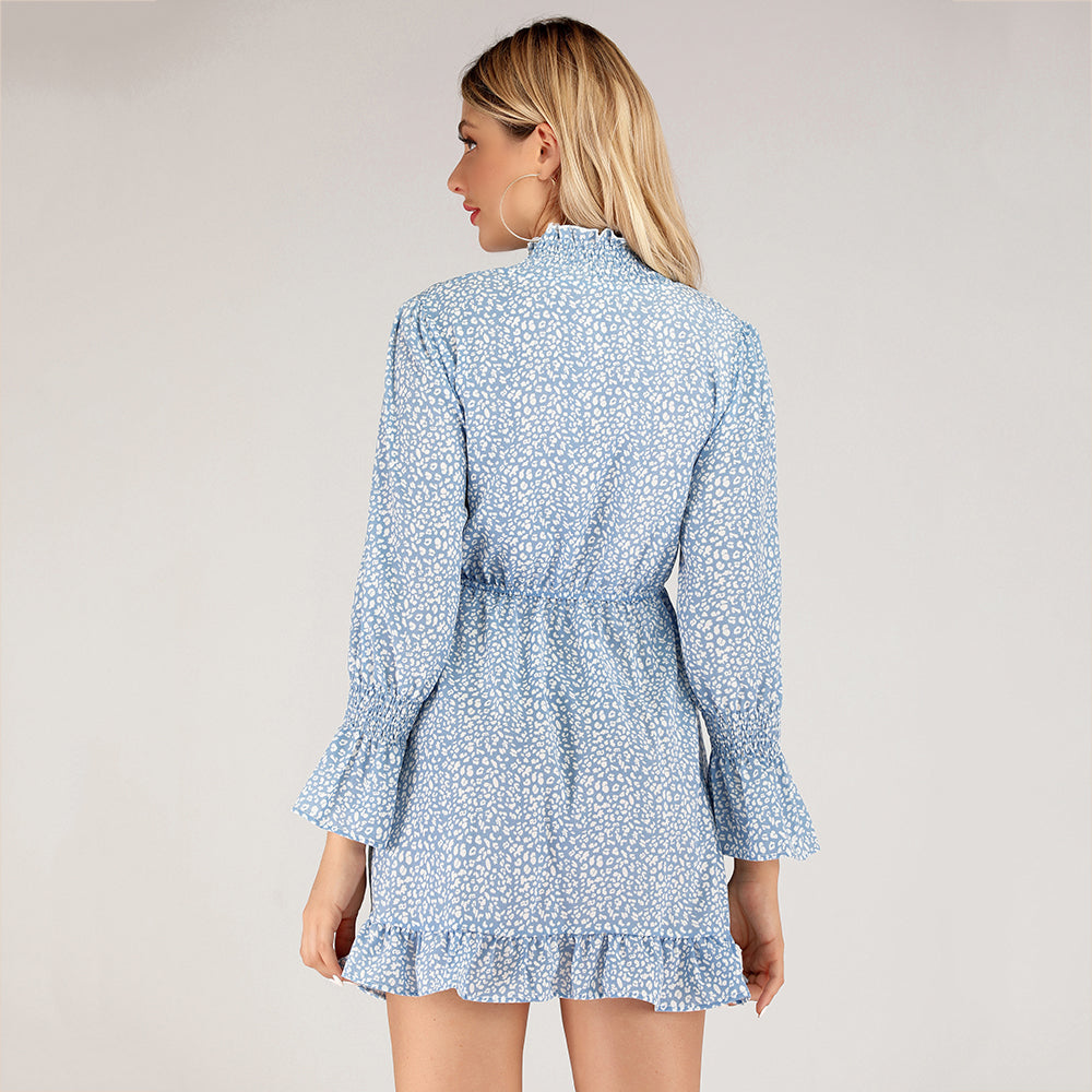 Day A-line High Neck Blue Printed Poet Sleeved Mini Dress - Dresses