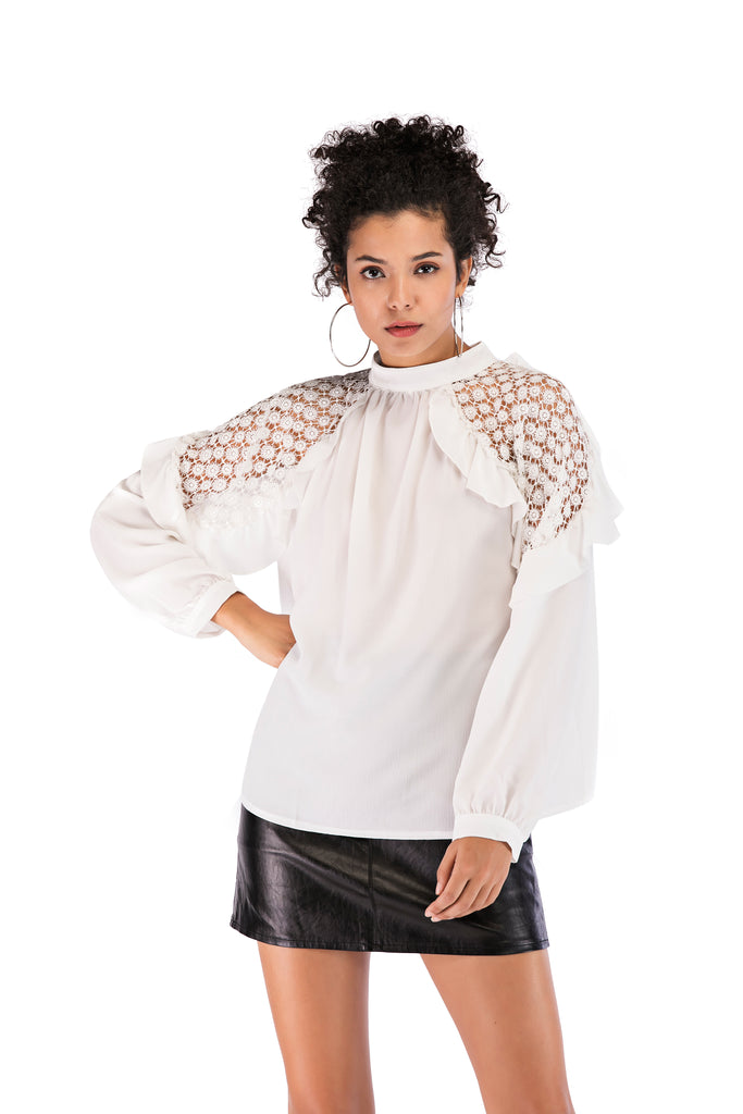 Party High Neck Laced Ruffled Sleeves Blouse