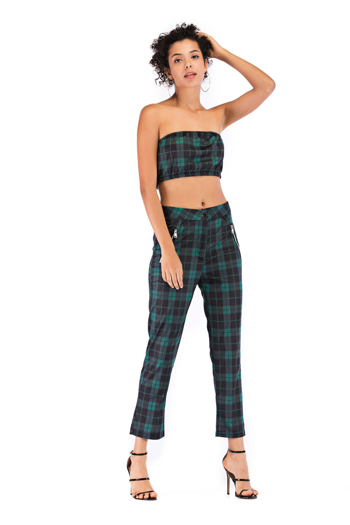 Casual Green Checkered Set - Suits