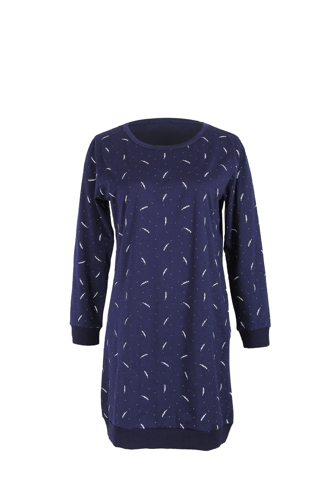 Day Fitted Crewneck Printed Micro Cotton Dress witth Pockets - Dresses