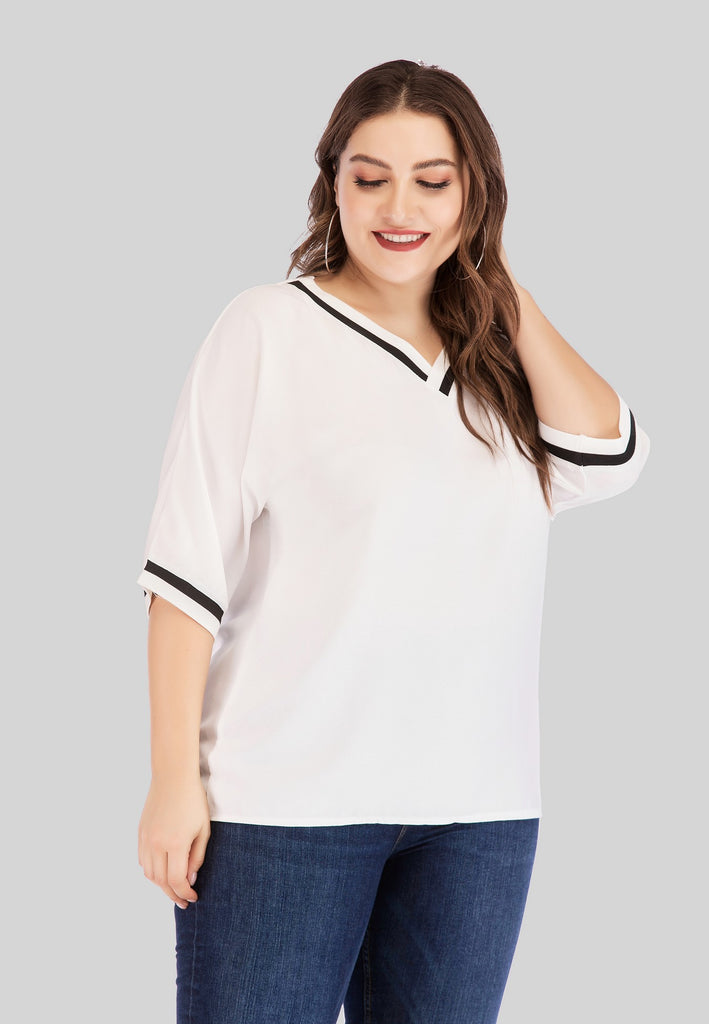 Casual V-neck White Elbowsleeved Striped  Blouse