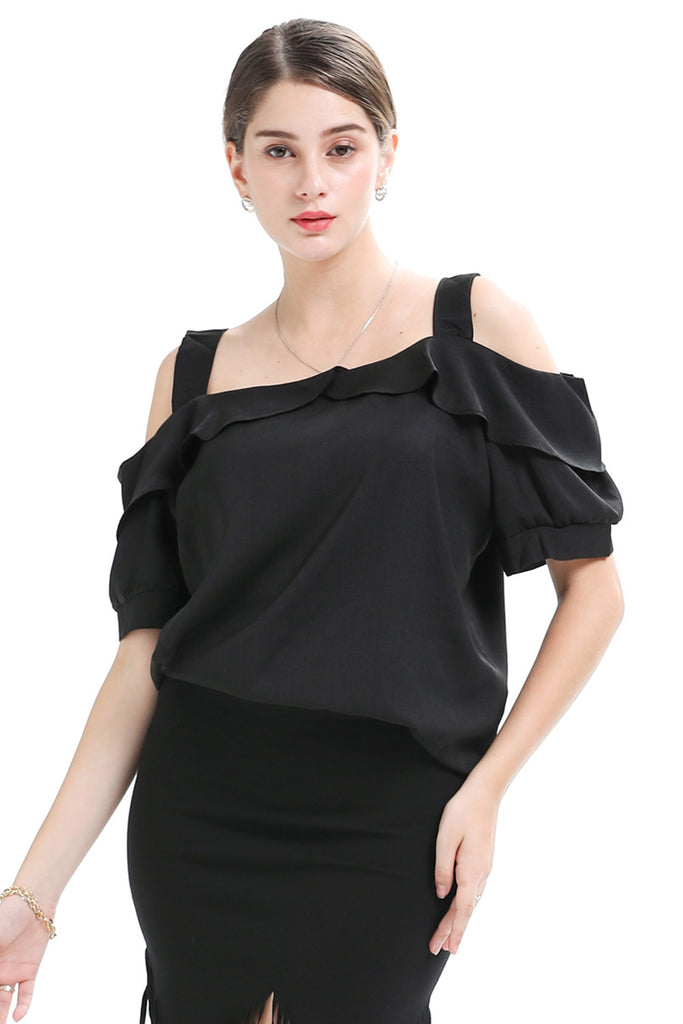 Day Square Neck Strap Ruffled Cotton Blouse - Blouses