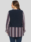 Day Crewneck Navy & Multicolor Stripes Printed Poet Sleeves Blouse - Blouses