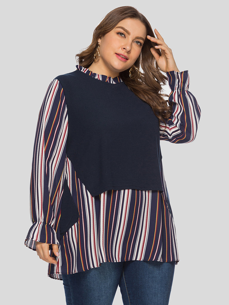 Day Crewneck Navy & Multicolor Stripes Printed Poet Sleeves Blouse