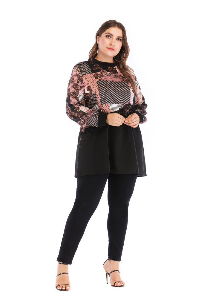 Day Crewneck Black & Multicolor Printed Laced Blouse - Blouses