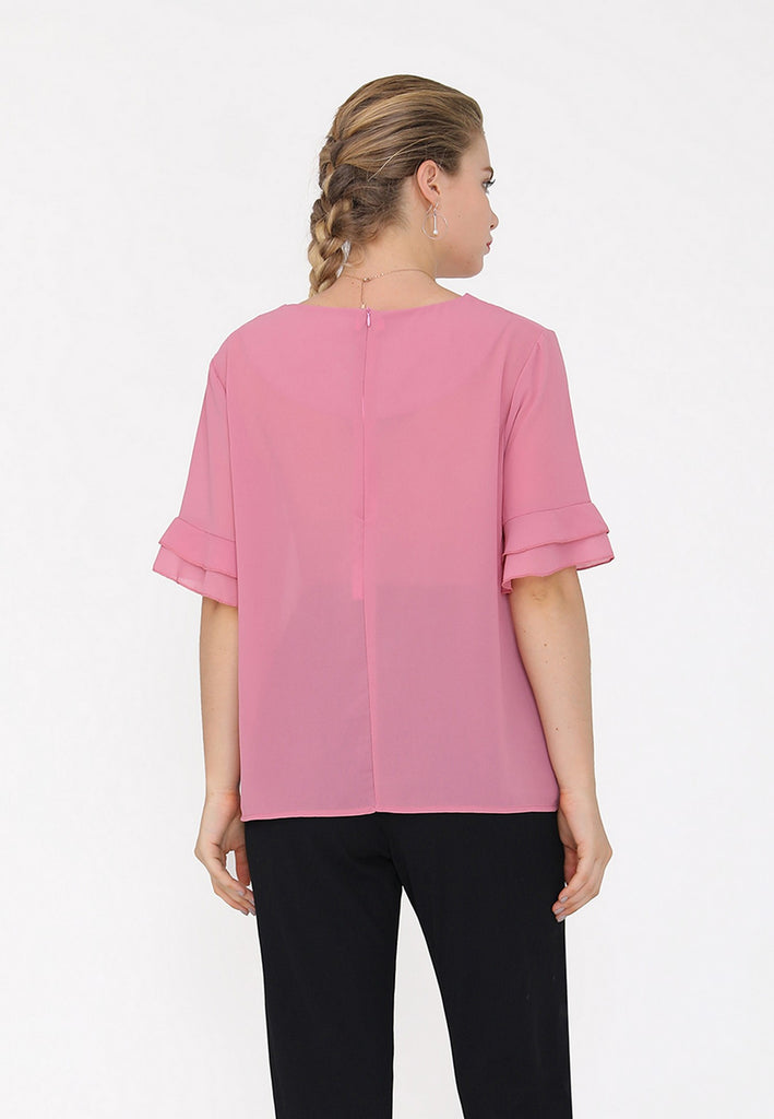 Day Crewneck Ruffled Sleeves Blouse - Blouses