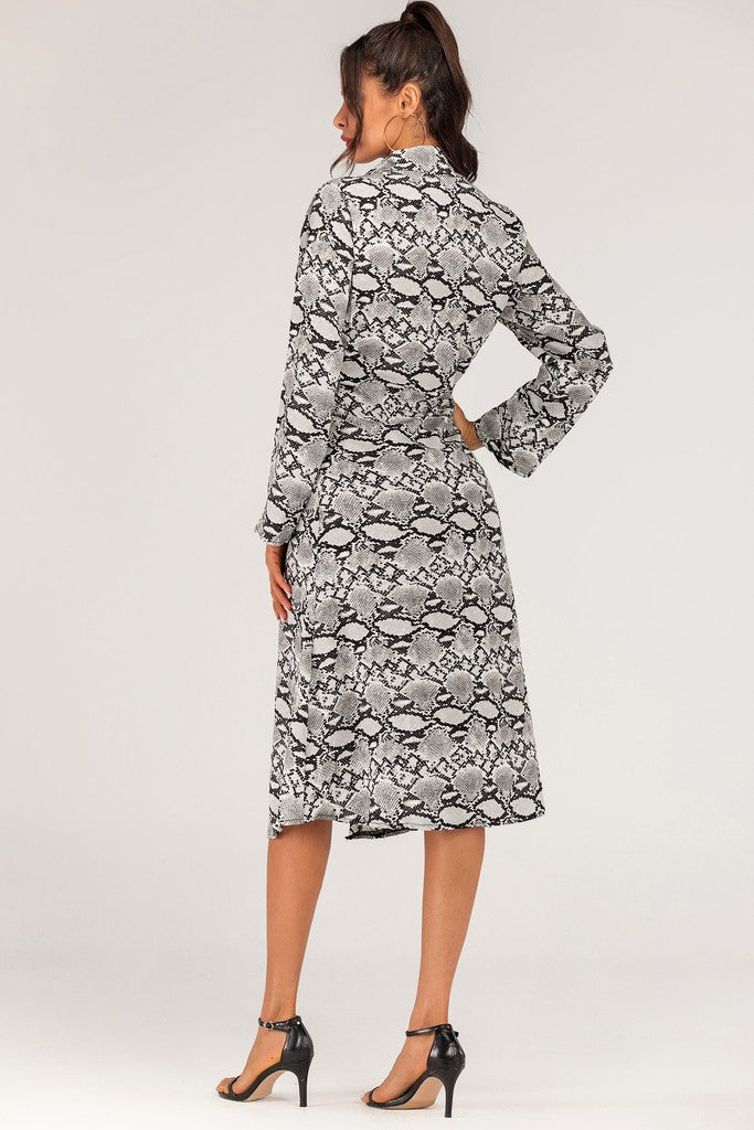 Gray Snake Printed Day Dress - Dresses