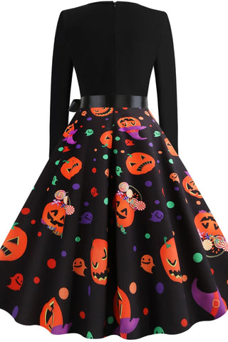 Black A-line Halloween Party Printed Dress - Dresses