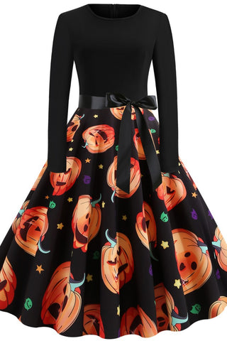 Black Printed A-line Dress - Dresses