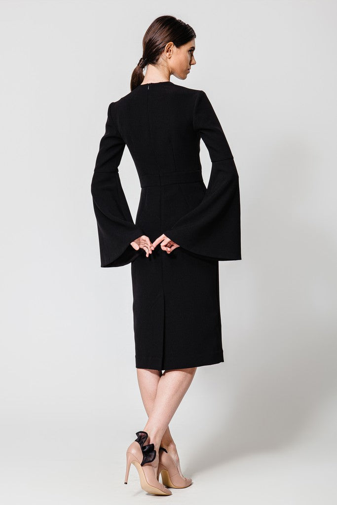 Sheath Midi Evening Black Dress - Dresses